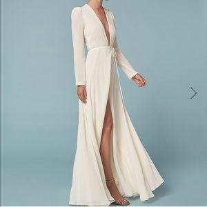 Reformation 'Thea' cream wrap dress